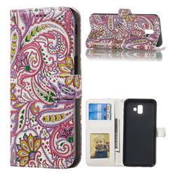 Pepper Flowers 3D Relief Oil PU Leather Wallet Case for Samsung Galaxy J6 Plus / J6 Prime