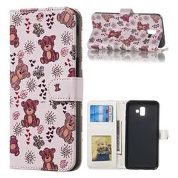 Cute Bear 3D Relief Oil PU Leather Wallet Case for Samsung Galaxy J6 Plus / J6 Prime