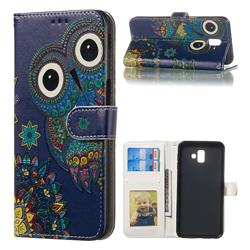 Folk Owl 3D Relief Oil PU Leather Wallet Case for Samsung Galaxy J6 Plus / J6 Prime