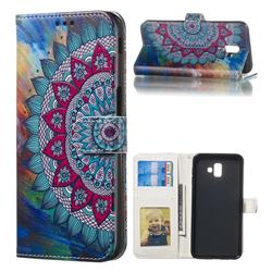 Mandala Flower 3D Relief Oil PU Leather Wallet Case for Samsung Galaxy J6 Plus / J6 Prime
