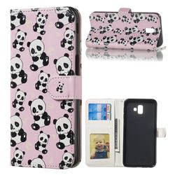 Cute Panda 3D Relief Oil PU Leather Wallet Case for Samsung Galaxy J6 Plus / J6 Prime