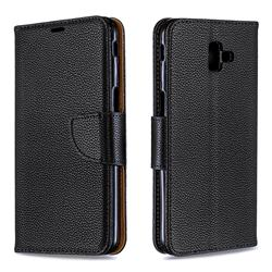 Classic Luxury Litchi Leather Phone Wallet Case for Samsung Galaxy J6 Plus / J6 Prime - Black