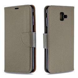 Classic Luxury Litchi Leather Phone Wallet Case for Samsung Galaxy J6 Plus / J6 Prime - Gray