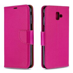 Classic Luxury Litchi Leather Phone Wallet Case for Samsung Galaxy J6 Plus / J6 Prime - Rose