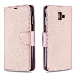 Classic Luxury Litchi Leather Phone Wallet Case for Samsung Galaxy J6 Plus / J6 Prime - Golden