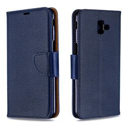 Classic Luxury Litchi Leather Phone Wallet Case for Samsung Galaxy J6 Plus / J6 Prime - Blue