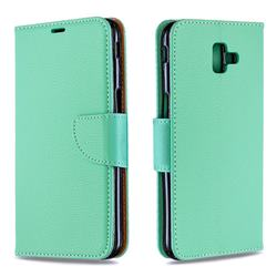 Classic Luxury Litchi Leather Phone Wallet Case for Samsung Galaxy J6 Plus / J6 Prime - Green