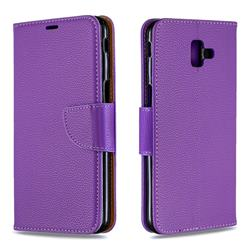 Classic Luxury Litchi Leather Phone Wallet Case for Samsung Galaxy J6 Plus / J6 Prime - Purple