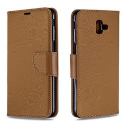 Classic Luxury Litchi Leather Phone Wallet Case for Samsung Galaxy J6 Plus / J6 Prime - Brown