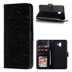 Intricate Embossing Datura Solar Leather Wallet Case for Samsung Galaxy J6 Plus / J6 Prime - Black
