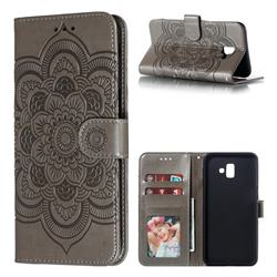 Intricate Embossing Datura Solar Leather Wallet Case for Samsung Galaxy J6 Plus / J6 Prime - Gray