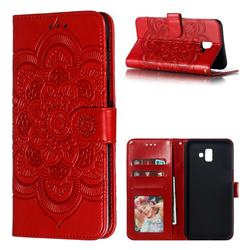 Intricate Embossing Datura Solar Leather Wallet Case for Samsung Galaxy J6 Plus / J6 Prime - Red