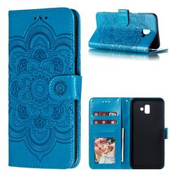 Intricate Embossing Datura Solar Leather Wallet Case for Samsung Galaxy J6 Plus / J6 Prime - Blue