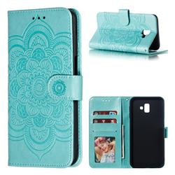 Intricate Embossing Datura Solar Leather Wallet Case for Samsung Galaxy J6 Plus / J6 Prime - Green
