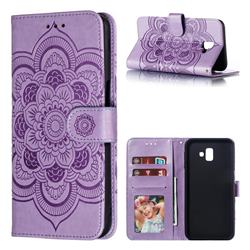 Intricate Embossing Datura Solar Leather Wallet Case for Samsung Galaxy J6 Plus / J6 Prime - Purple