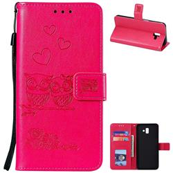 Embossing Owl Couple Flower Leather Wallet Case for Samsung Galaxy J6 Plus / J6 Prime - Red
