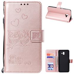 Embossing Owl Couple Flower Leather Wallet Case for Samsung Galaxy J6 Plus / J6 Prime - Rose Gold