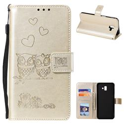 Embossing Owl Couple Flower Leather Wallet Case for Samsung Galaxy J6 Plus / J6 Prime - Golden