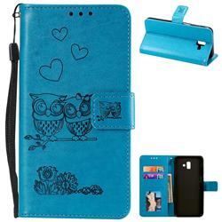 Embossing Owl Couple Flower Leather Wallet Case for Samsung Galaxy J6 Plus / J6 Prime - Blue
