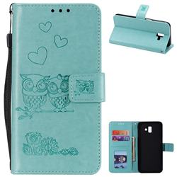 Embossing Owl Couple Flower Leather Wallet Case for Samsung Galaxy J6 Plus / J6 Prime - Green