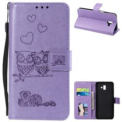 Embossing Owl Couple Flower Leather Wallet Case for Samsung Galaxy J6 Plus / J6 Prime - Purple