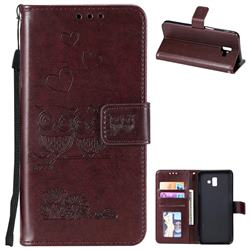 Embossing Owl Couple Flower Leather Wallet Case for Samsung Galaxy J6 Plus / J6 Prime - Brown