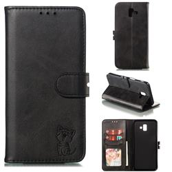 Embossing Happy Cat Leather Wallet Case for Samsung Galaxy J6 Plus / J6 Prime - Black