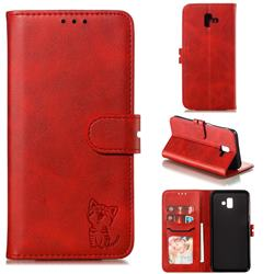 Embossing Happy Cat Leather Wallet Case for Samsung Galaxy J6 Plus / J6 Prime - Red