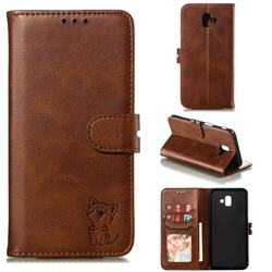 Embossing Happy Cat Leather Wallet Case for Samsung Galaxy J6 Plus / J6 Prime - Brown