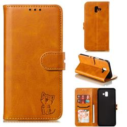 Embossing Happy Cat Leather Wallet Case for Samsung Galaxy J6 Plus / J6 Prime - Yellow