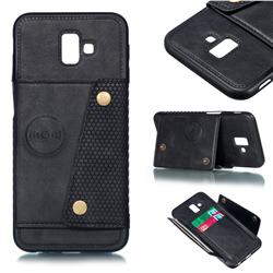 Retro Multifunction Card Slots Stand Leather Coated Phone Back Cover for Samsung Galaxy J6 Plus / J6 Prime - Black