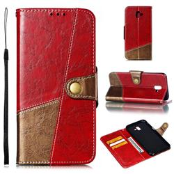 Retro Magnetic Stitching Wallet Flip Cover for Samsung Galaxy J6 Plus / J6 Prime - Rose Red