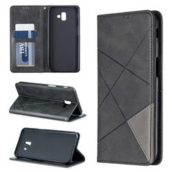 Prismatic Slim Magnetic Sucking Stitching Wallet Flip Cover for Samsung Galaxy J6 Plus / J6 Prime - Black