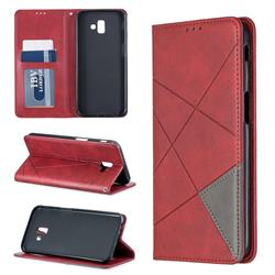Prismatic Slim Magnetic Sucking Stitching Wallet Flip Cover for Samsung Galaxy J6 Plus / J6 Prime - Red