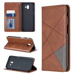 Prismatic Slim Magnetic Sucking Stitching Wallet Flip Cover for Samsung Galaxy J6 Plus / J6 Prime - Brown