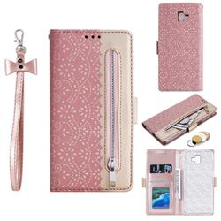 Luxury Lace Zipper Stitching Leather Phone Wallet Case for Samsung Galaxy J6 Plus / J6 Prime - Pink