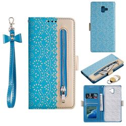 Luxury Lace Zipper Stitching Leather Phone Wallet Case for Samsung Galaxy J6 Plus / J6 Prime - Blue
