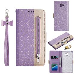 Luxury Lace Zipper Stitching Leather Phone Wallet Case for Samsung Galaxy J6 Plus / J6 Prime - Purple