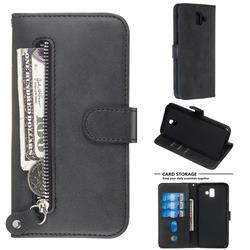 Retro Luxury Zipper Leather Phone Wallet Case for Samsung Galaxy J6 Plus / J6 Prime - Black