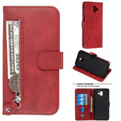 Retro Luxury Zipper Leather Phone Wallet Case for Samsung Galaxy J6 Plus / J6 Prime - Red