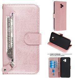 Retro Luxury Zipper Leather Phone Wallet Case for Samsung Galaxy J6 Plus / J6 Prime - Pink