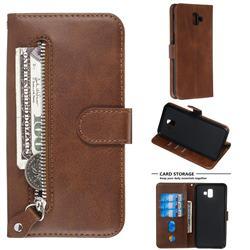 Retro Luxury Zipper Leather Phone Wallet Case for Samsung Galaxy J6 Plus / J6 Prime - Brown