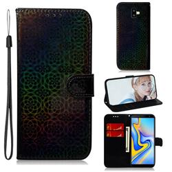 Laser Circle Shining Leather Wallet Phone Case for Samsung Galaxy J6 Plus / J6 Prime - Black