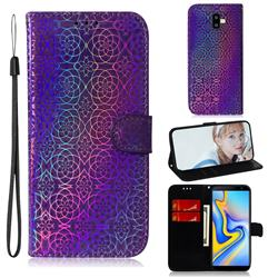Laser Circle Shining Leather Wallet Phone Case for Samsung Galaxy J6 Plus / J6 Prime - Purple