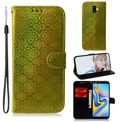 Laser Circle Shining Leather Wallet Phone Case for Samsung Galaxy J6 Plus / J6 Prime - Golden