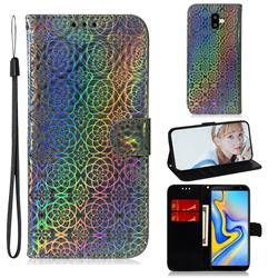 Laser Circle Shining Leather Wallet Phone Case for Samsung Galaxy J6 Plus / J6 Prime - Silver