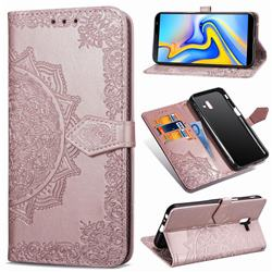 Embossing Imprint Mandala Flower Leather Wallet Case for Samsung Galaxy J6 Plus / J6 Prime - Rose Gold