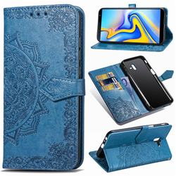 Embossing Imprint Mandala Flower Leather Wallet Case for Samsung Galaxy J6 Plus / J6 Prime - Blue