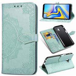 Embossing Imprint Mandala Flower Leather Wallet Case for Samsung Galaxy J6 Plus / J6 Prime - Green