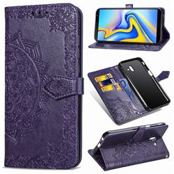 Embossing Imprint Mandala Flower Leather Wallet Case for Samsung Galaxy J6 Plus / J6 Prime - Purple